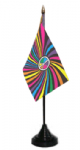 Rainbow Peace Swirl Desk / Table Flag with plastic stand and base
